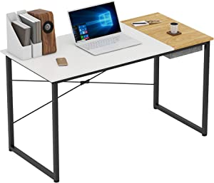 "Home Office Computer Desk with Hidden Storage Box, Modern Study Writing Desk of Contrast Dual Color, Simple Laptop Table (47"", White Natural)"