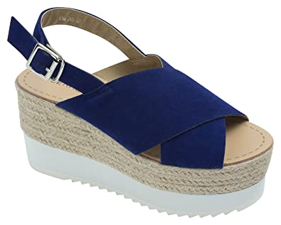 8c7008fed49 AnnaKastle Womens Criss-Cross Espadrille Wedge Slingback Sandal