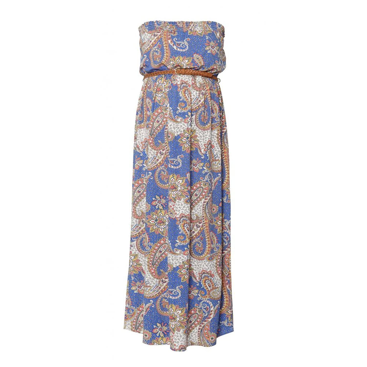 Heavenly Bump Maternity Zesty Paisley Print Strapless Maxi Dress - Blue Pattern