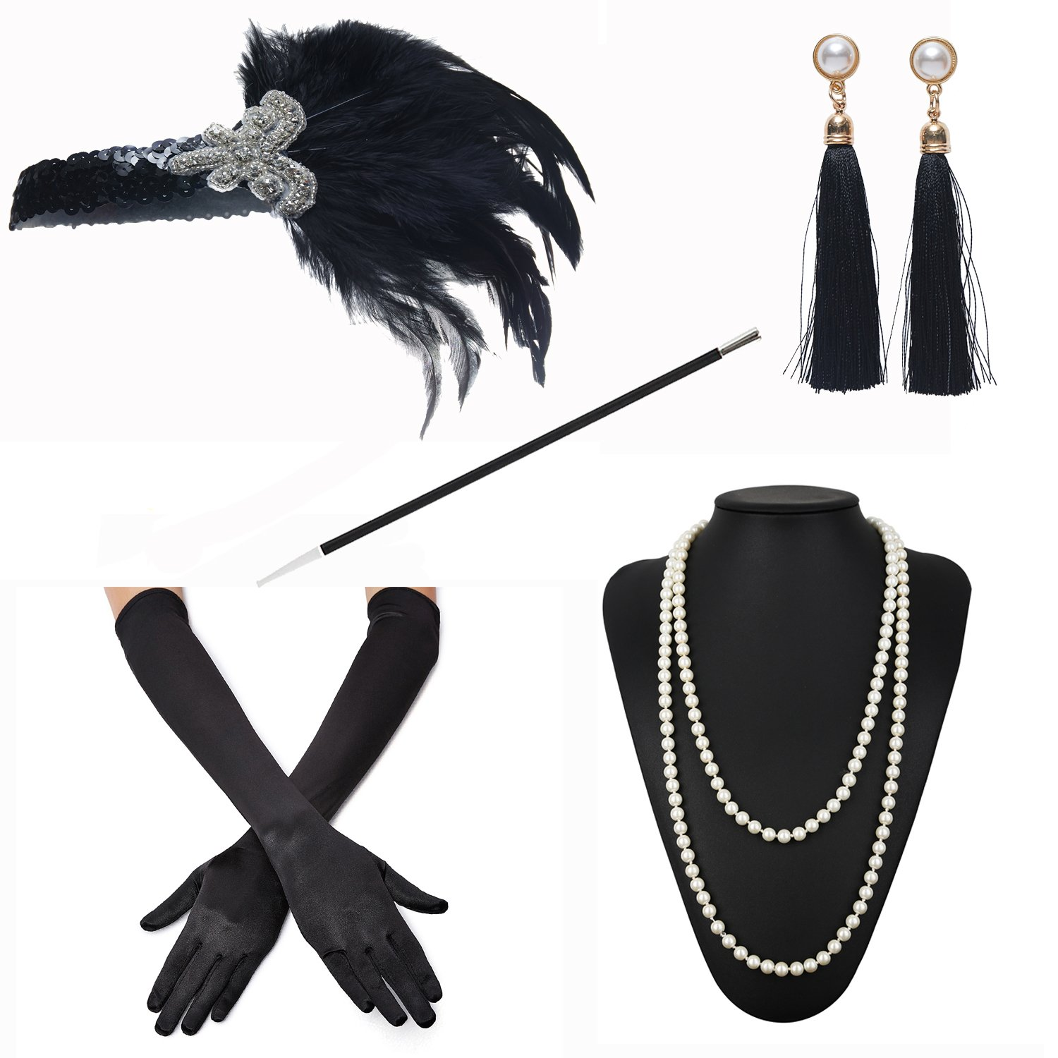 ZeroShop 1920s Accessories Headband Earrings Necklace Gloves Cigarette Holder (Medium, M10)