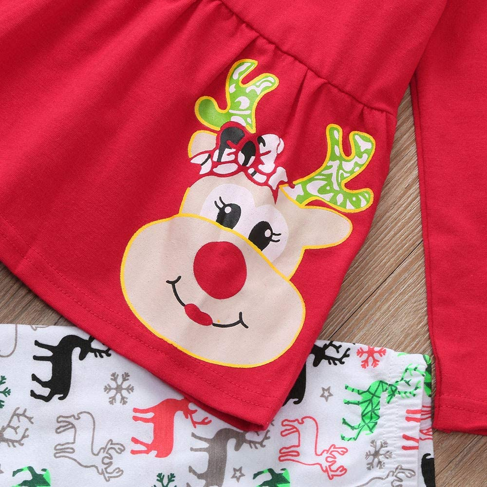 Christmas Girl Outfits,Fineser Cute Toddler Baby Girls Christmas Snowflower Deers Print Dresses Pants Scarf Clothes 3Pcs Set