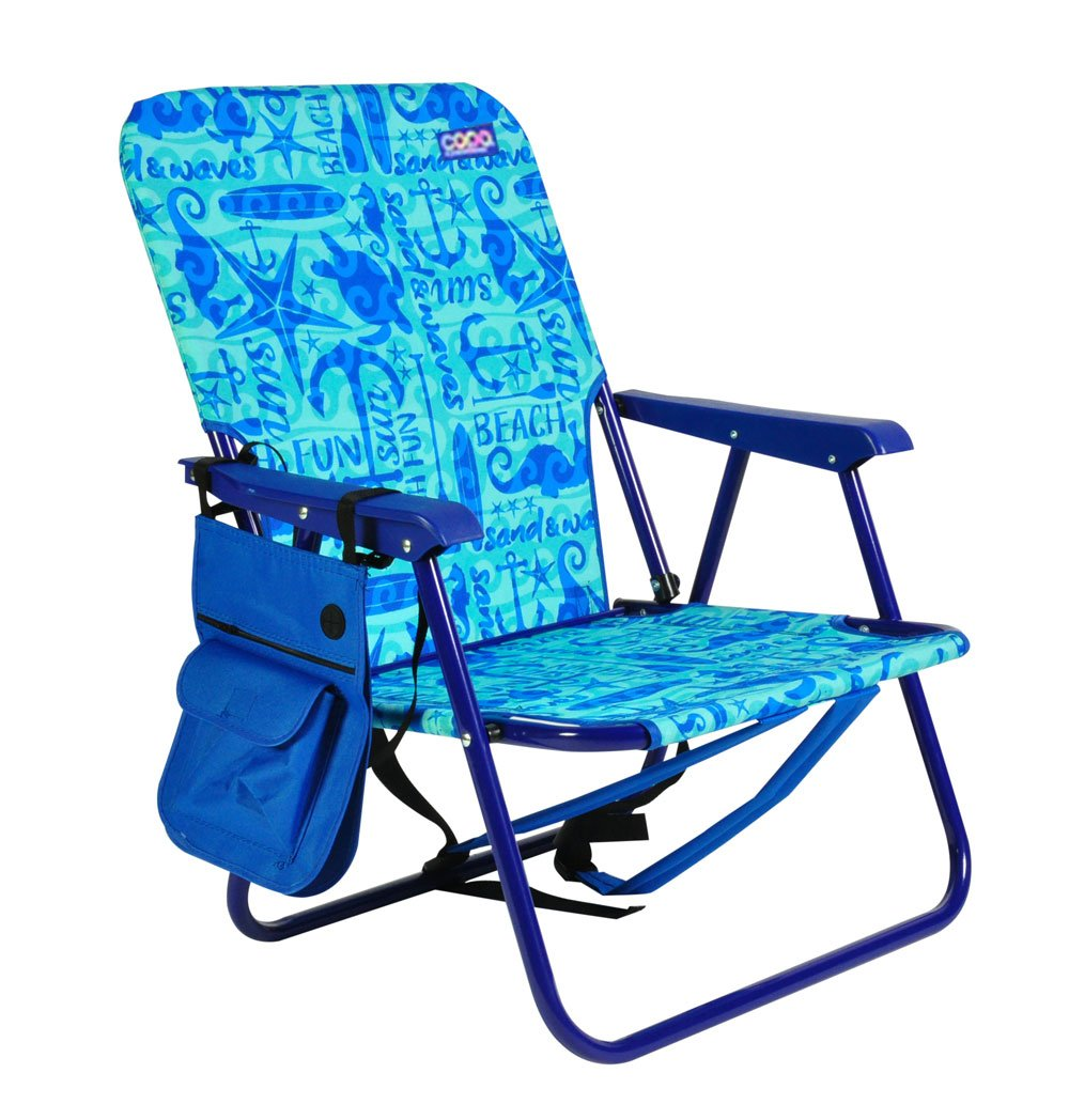 Assorted Colors Backpack Sturdy Steel Beach Chair Seat Height 10 Recommended Weight Limit 225lbs by Copa JGR Copa