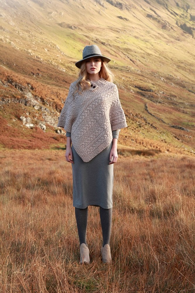 Fisherman Knit Poncho 100% Merino Wool Natural by Carraig Donn (Image #7)
