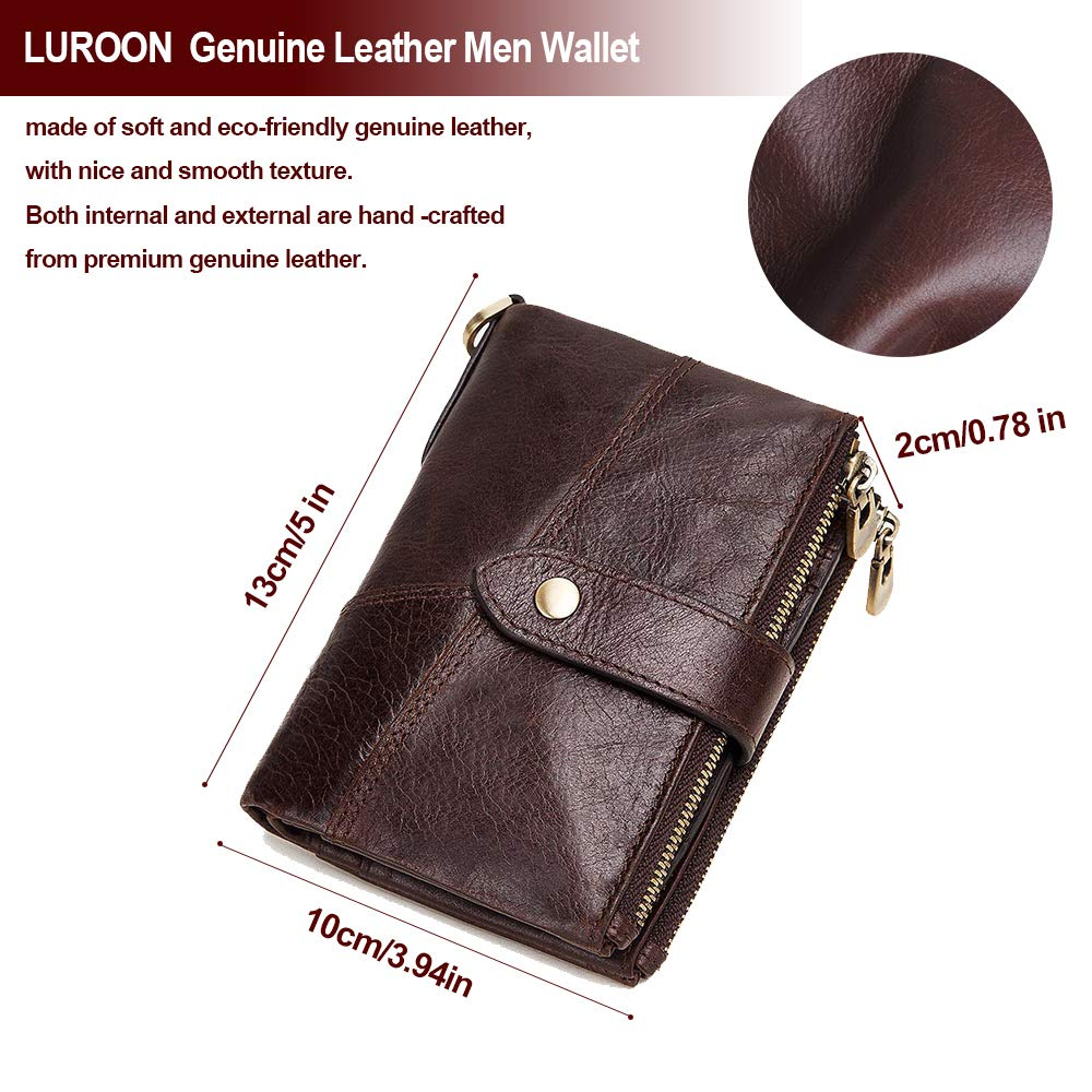Homme portefeuille avec poche monnaie RFID Blocage Portefeuille Cuir Carte de crédit Coin Pouch