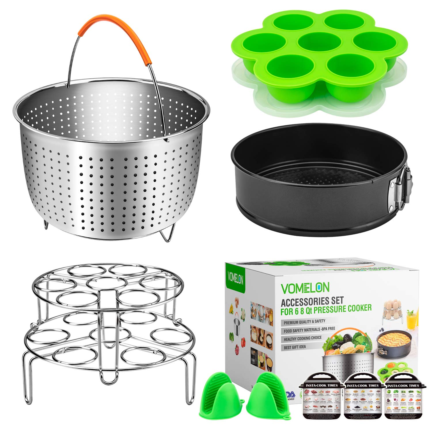 Cooking Accessories for Instant Pot 6,8 Qt, 10-Piece Instant Pot Steamer Basket,Silicone Egg Bites Mold,7'' Springfrom Pan,Egg Steamer Racks,Magnetic Cheat Sheets And Oven Mitts Bonus Recipes Ebook