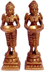 Home and Kitchen Decors a Pair of Brass Standing deeplaxmi showpiece for Pooja aarti Decor