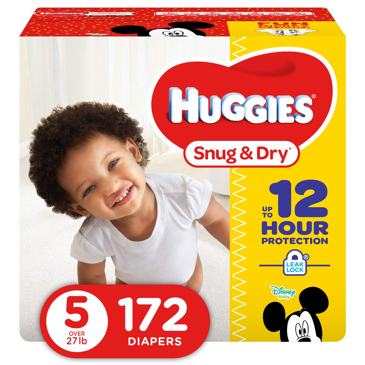 HUGGIES Snug & Dry Baby Diapers, Size 5 (fits 27+ lbs.), 172 Count (Packaging May Vary)
