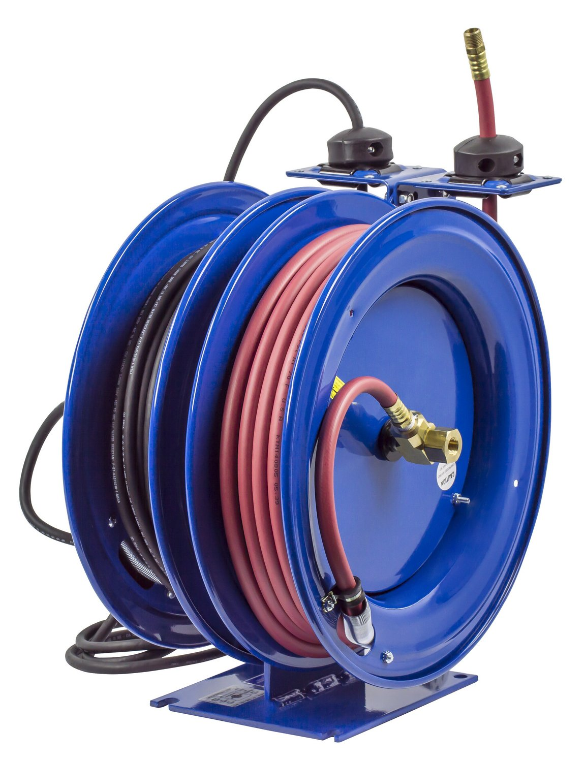 Coxreels C-L350-5012-B Combo Air and Electric Hose Reel with Quad Outlet Attachment, 3/8'' Hose ID, 50' Length by Coxreels (Image #4)