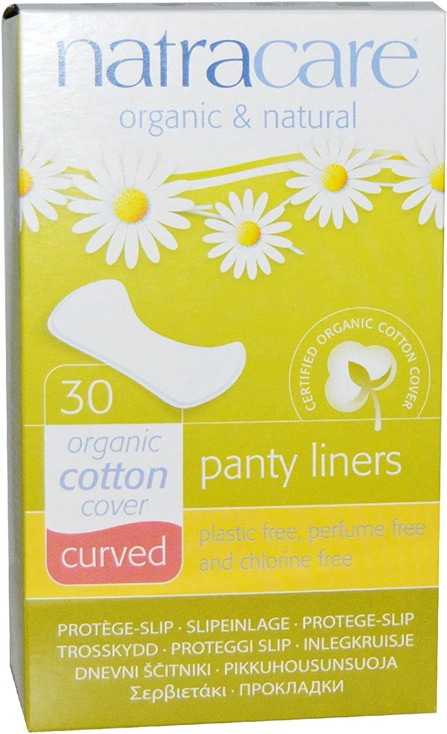 Natracare Organic & Natural Curved Panty Liners 30 ea (Pack of 5)