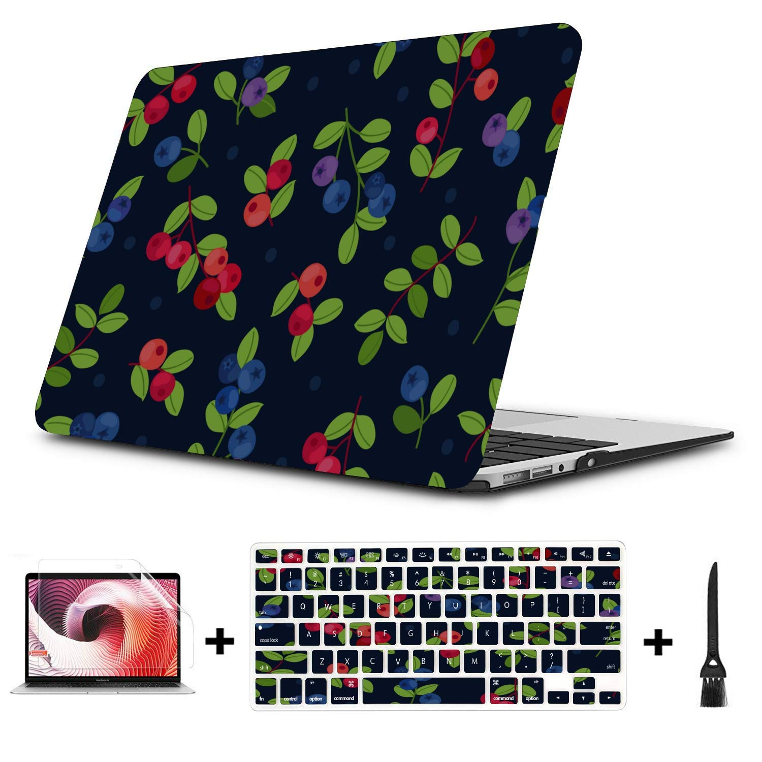 Mac Case Summer Fruit Cherry Blueberry Drink Plastic Hard Shell Compatible Mac Air 11 Pro 13 15 Laptop Cover Protection for MacBook 2016-2019 Version