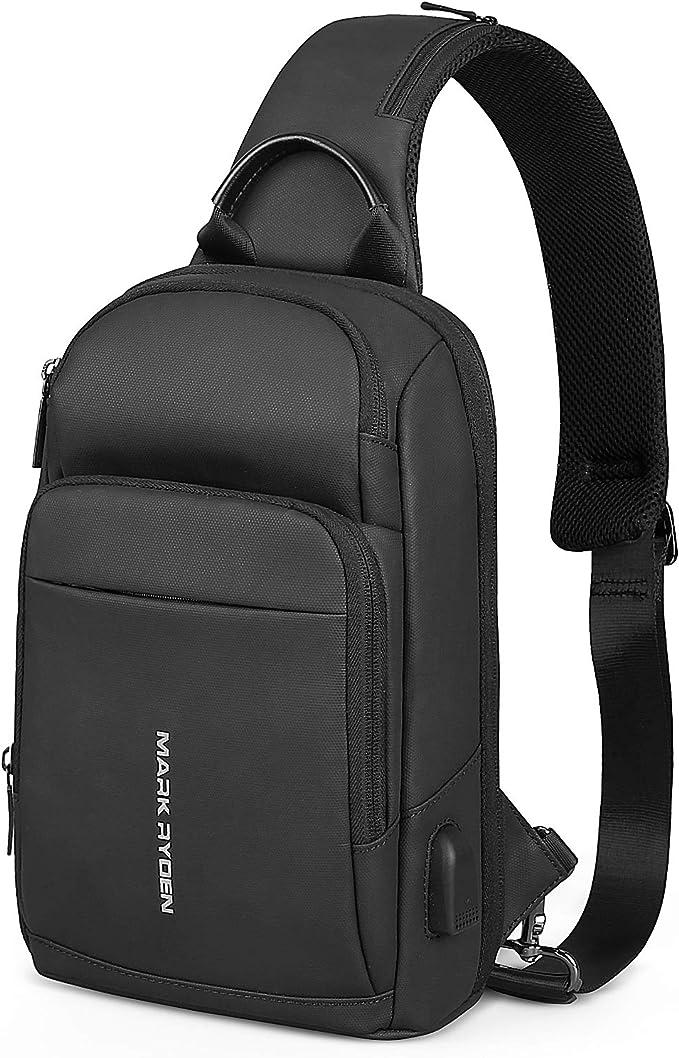 MARK RYDEN Anti-Vol Sling /Épaule Cross Body Bag Sac /à Dos Casual Day Pack avec USB Chargeur pour Hommes Femmes
