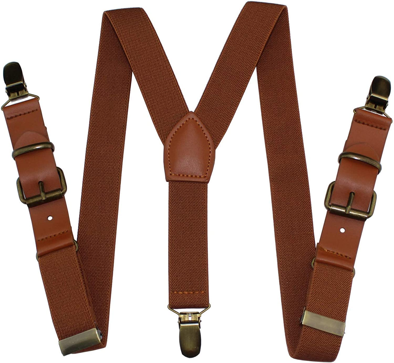 Yienws Y-Sharp Pants Suspenders Boys Brown 3 Clasp Strap Braces Suspenders for Children Kids Adjustable Patch Leather Suspenders