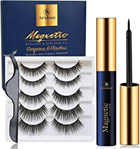 Arishine Magnetic Eyelashes with Eyeliner - Magnetic Eyeliner and Magnetic Eyelash Kit - Eyelashes With Natural Look - Comes With Applicator - No Glue Needed