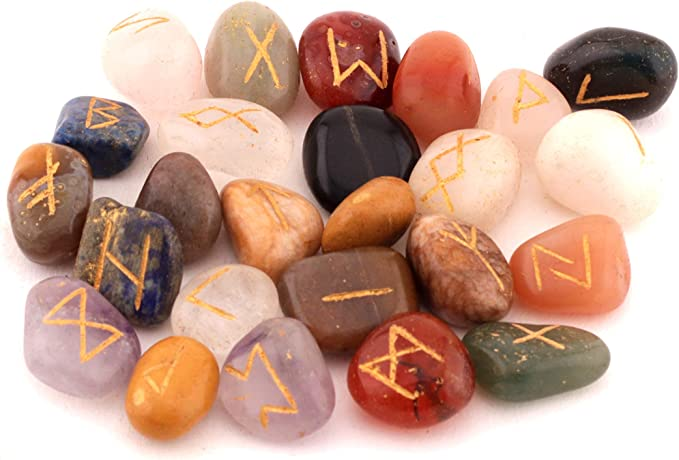fengshuisale Natural Rune Stones Engraved Lettering Crystal Set Wiccan Pagan Rose Quartz Chakra Stone Reiki Healing W3490