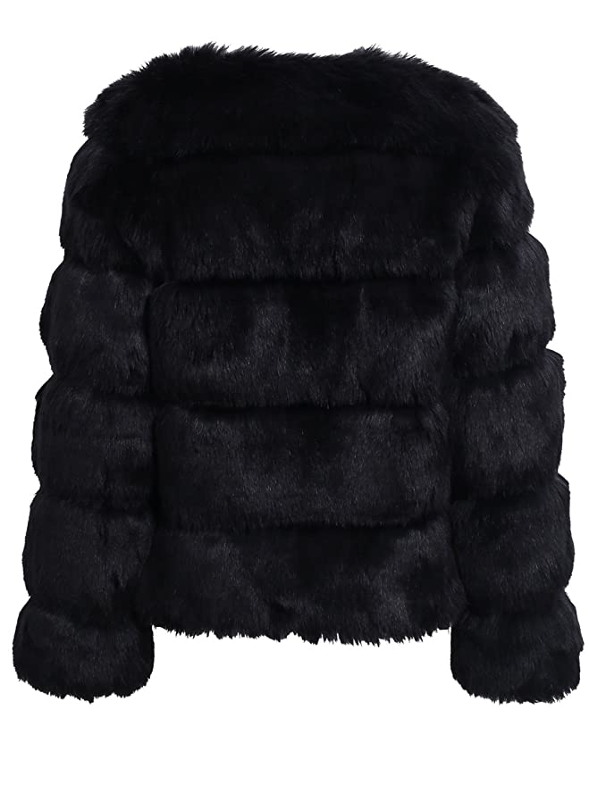 Simplee Women Luxury Winter Warm Fluffy Faux Fur Short Coat Jacket Parka Outwear