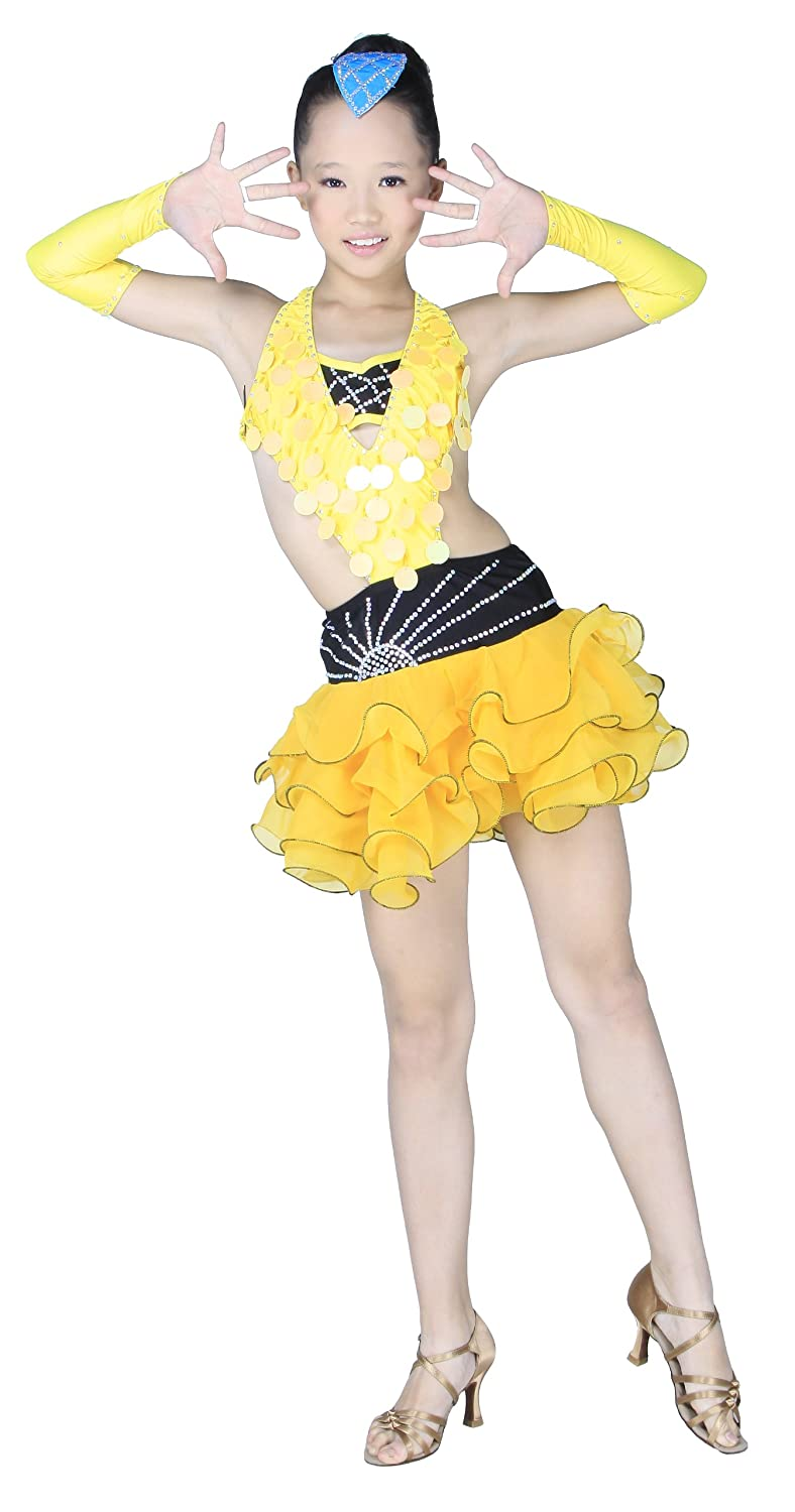 Colorfulworldstore Child Girls/Ladies Latin salsa cha cha tango Ballroom Dance Dress -Over all dress in 2sets-Yellow