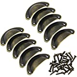 JTDEAL 10 PCS Pull Handles Bronze Iron Half Moon Shell Handle for Home Deco Drawer Door Cupboard Cabinet Furniture Cup Handles Pull With Screws