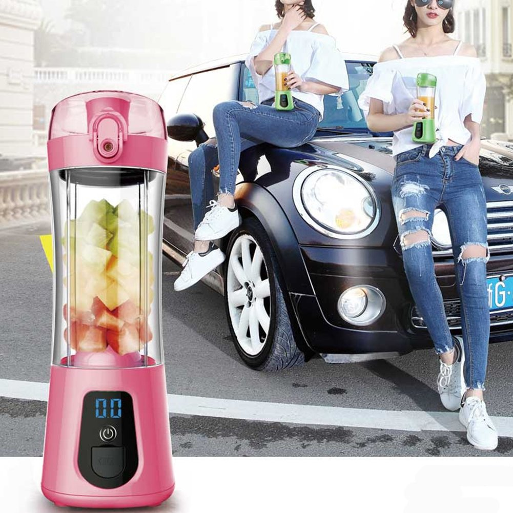 Studyset Mini Portable Electric Juice Bottle Mixer Cup with Power Bank Rechargeable USB Fruit Juicer with Travel Lid & LCD Display for Water, Protein Shakes, Smoothies Green by Studyset (Image #4)