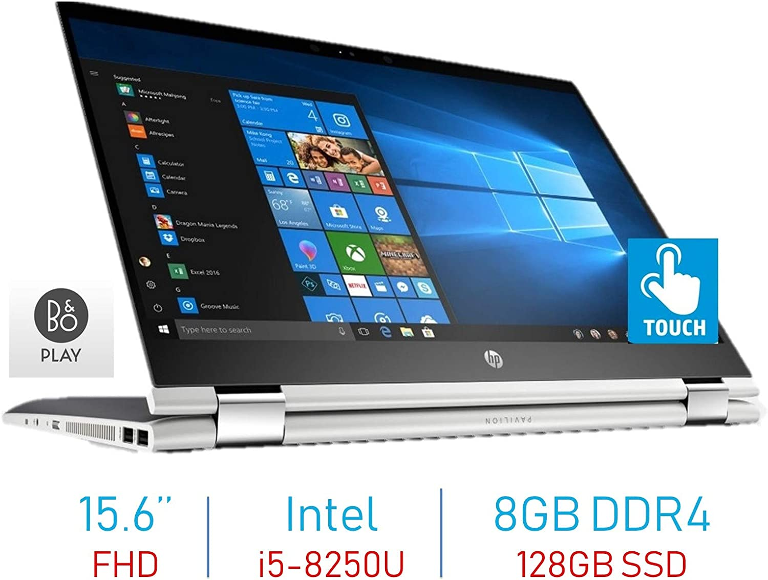 HP Premium X360 15.6'' 2-in-1 Touchscreen FHD IPS WLED-Backlit Display Laptop PC (8th Gen Quad-Core Intel i5-8250U (>i7-7500U), Bluetooth, Webcam, 8GB DDR4 RAM, 128GB SSD Windows 10