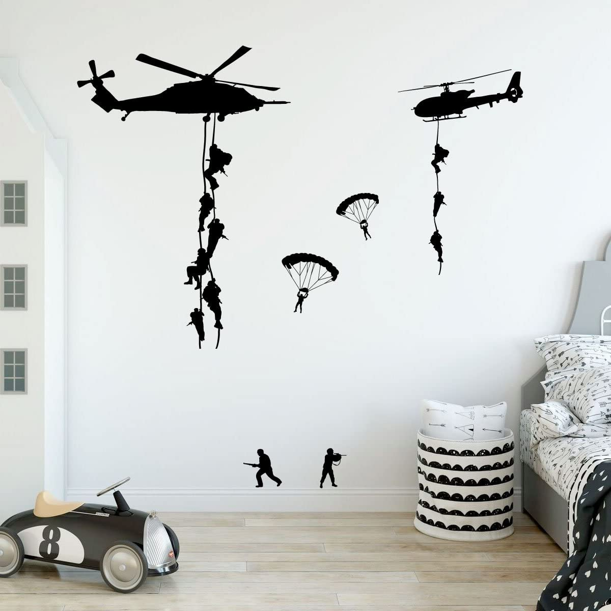 ARMY TROOPS WALL STICKER 3D LOOK BOYS KIDS BEDROOM ARMY WALL DECAL Z714