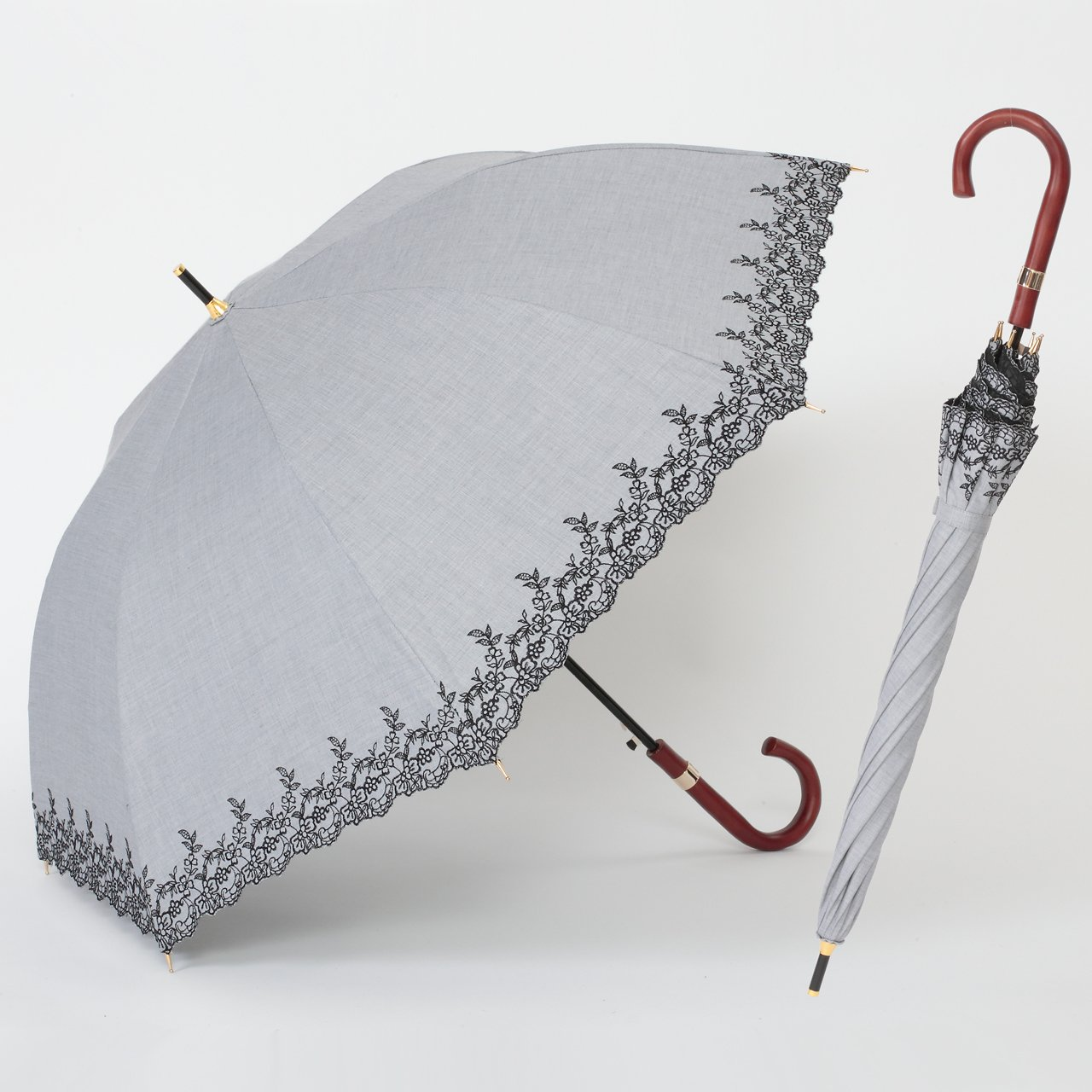 UV遮熱遮光ジャンプ傘 花柄 グレー 晴雨兼用 遮光1級 日傘 【LIEBEN-1518】 クールプラス B01DZRTFFK