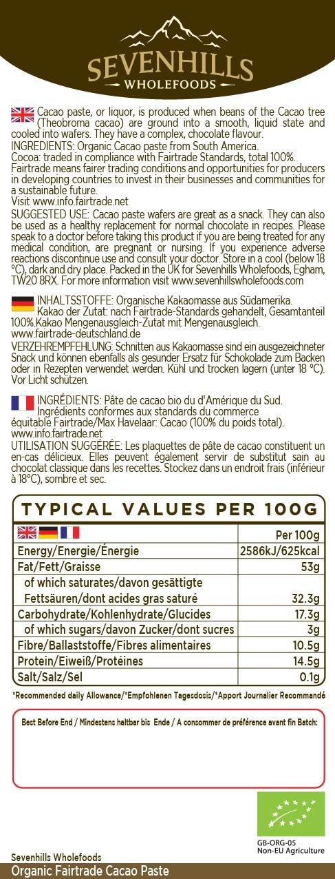 Sevenhills Wholefoods Pasta De Cacao (Licor, Masa) Orgánico De Comercio Justo, Obleas, 300g: Amazon.es: Salud y cuidado personal
