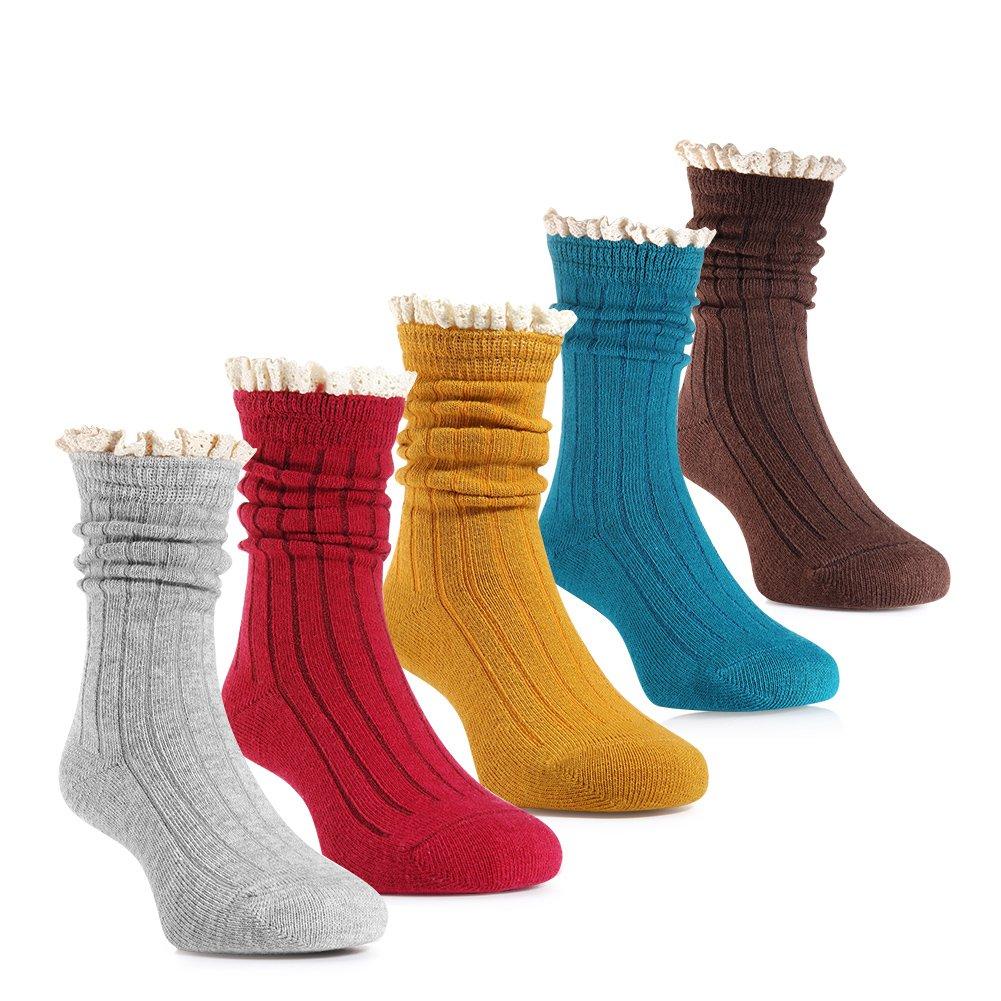 Kids Socks, Lace Ruffles Calf Socks for Big Little Baby Girls 3-12 Years Old (5, M)