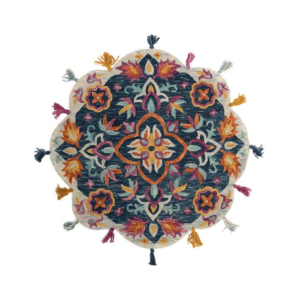 TJTJ デザイナーの敷物ラウンド絨毯&カーペット庭の純粋なウールのハンドメイドの編まれた毛布フリンジレースに適用リビングルーム寝室レストランクローク  Jtogo.jp厚さ1CMの家の装飾 (サイズ : 120cm×120cm) B07SBZ8CZW  120cm×120cm