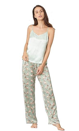 82b08f34fb LILYSILK Womens 100 Silk Floral Long Camisole Set Ladies 2Pcs 19 Momme Pure  Mulberry Silk Pajamas Set  Amazon.co.uk  Clothing