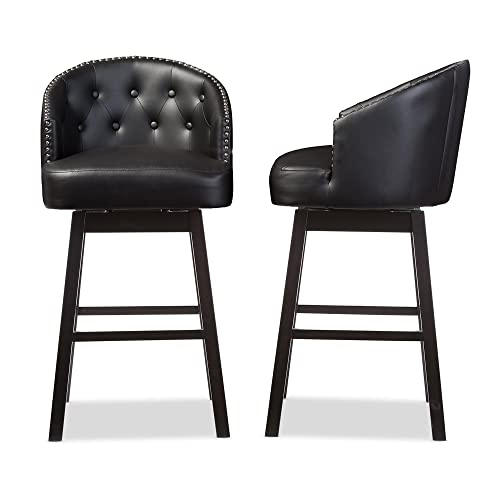 "Baxton Studio Avril Modern & Contemporary Faux Leather Tufted Swivel Barstool with Nail Heads Trim (Set of 2), 21.45"" L x 21.45"" W x 40.76"" H, Black"