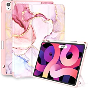 iPad Air 4th Generation Case, Feams Slim Protective Trifold iPad Air 4 Case 10.9 Inch 2020 Soft TPU Back Cover with Pencil Holder & Auto Wake/Sleep for iPad Air 4th Generation, Pink Marble