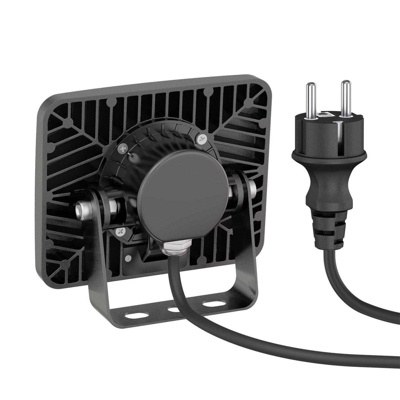 ledscom.de LED Foco para Exterior Wega con Detector de Movimiento, Plano Aluminio Negro 10W 650lm Blanca cálida: Amazon.es: Electrónica