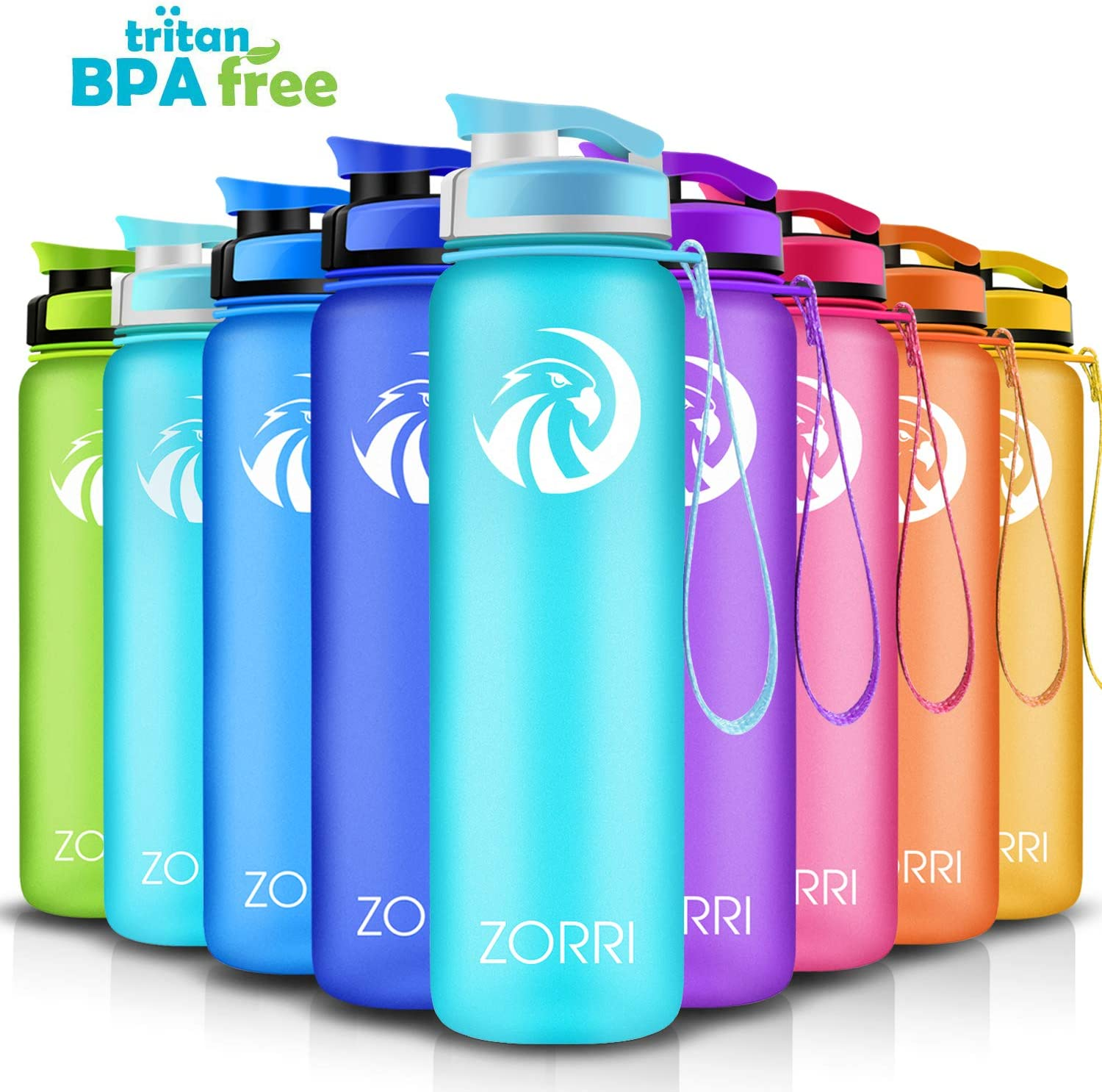 Best Sports Water Bottle 1L/ 1.2 Litre/ 600/ 800ml, Leak Proof, BPA Free Lightweight Reusable Gym Portable Large Drink Bottles With Filter for Kids, Cycling, Hiking, Running, Camping, Flip Top Lid