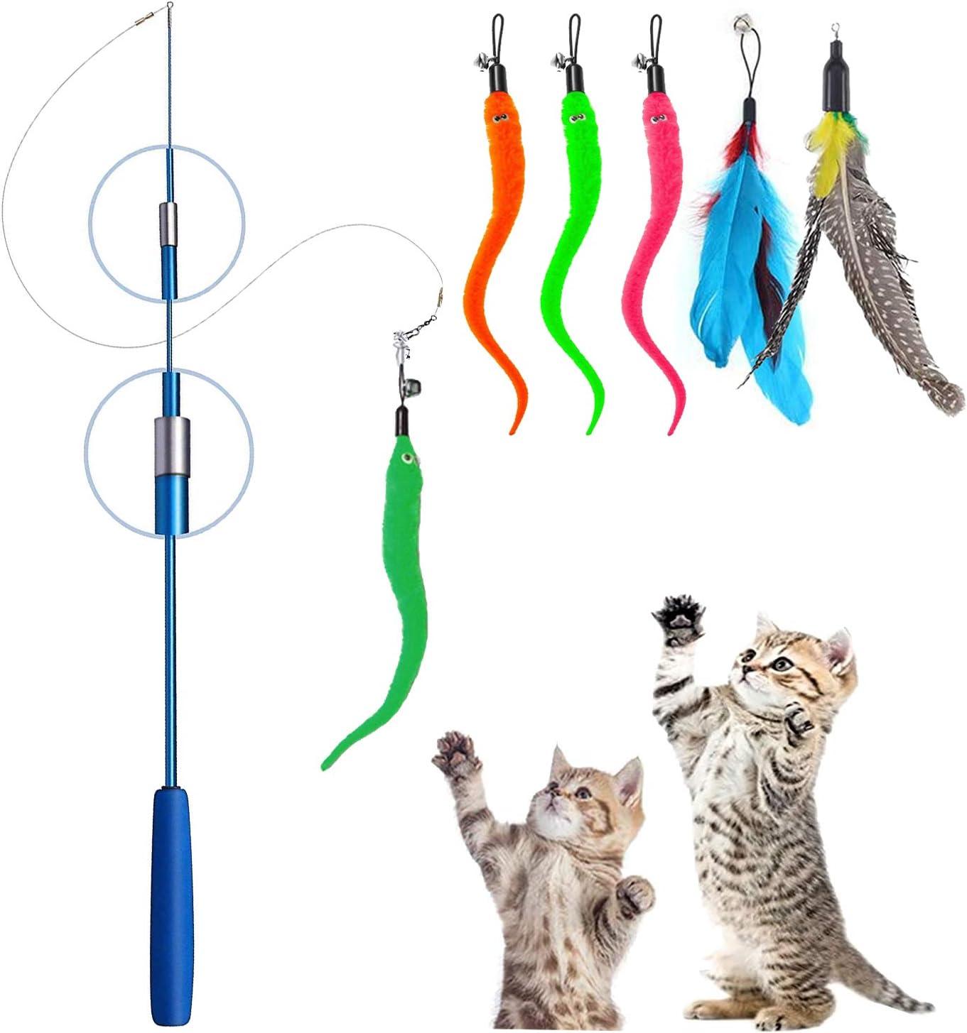 YOUYIKE® Juguete para Gatos, Juguetes Pluma de Gatos, Interactivo Varita Retráctil para Gato con 5 Recargas Gusanos para Interior Gato y Gatito