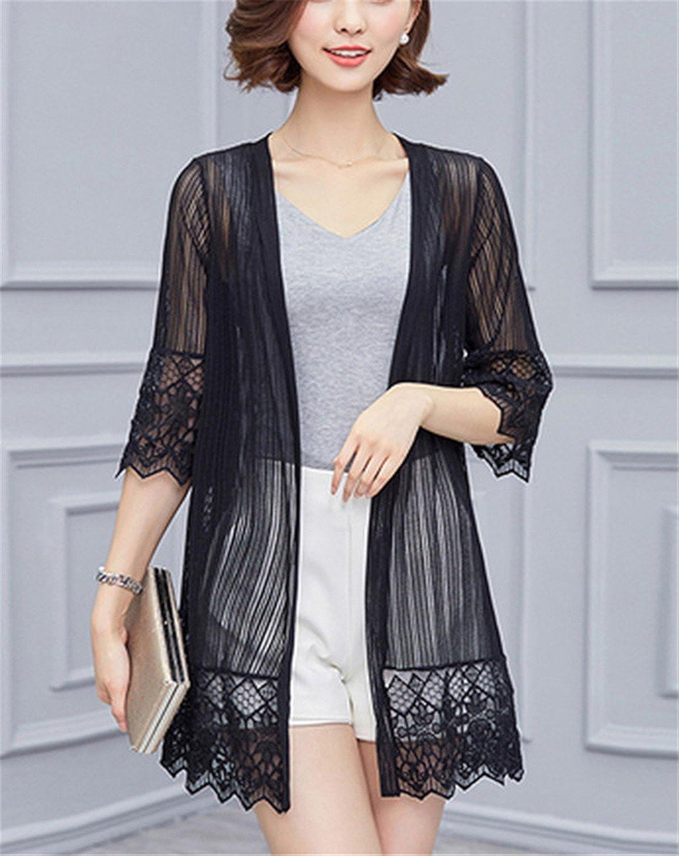 10d1c077a2567 WENYIFANG Women Lace Kimono Cardigan Suncreen Jacket Mesh Blouse Summer  Beach Thin Hollow Transparent Tops at Amazon Women s Clothing store