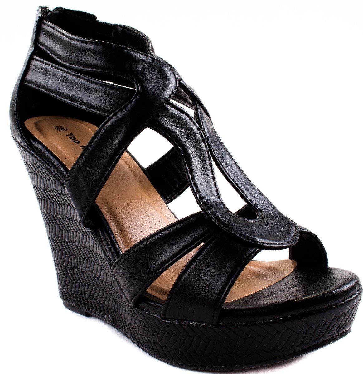 Top Moda Shoes Women's Lindy-1 Black High Heel Pumps 6.5 D(M) US