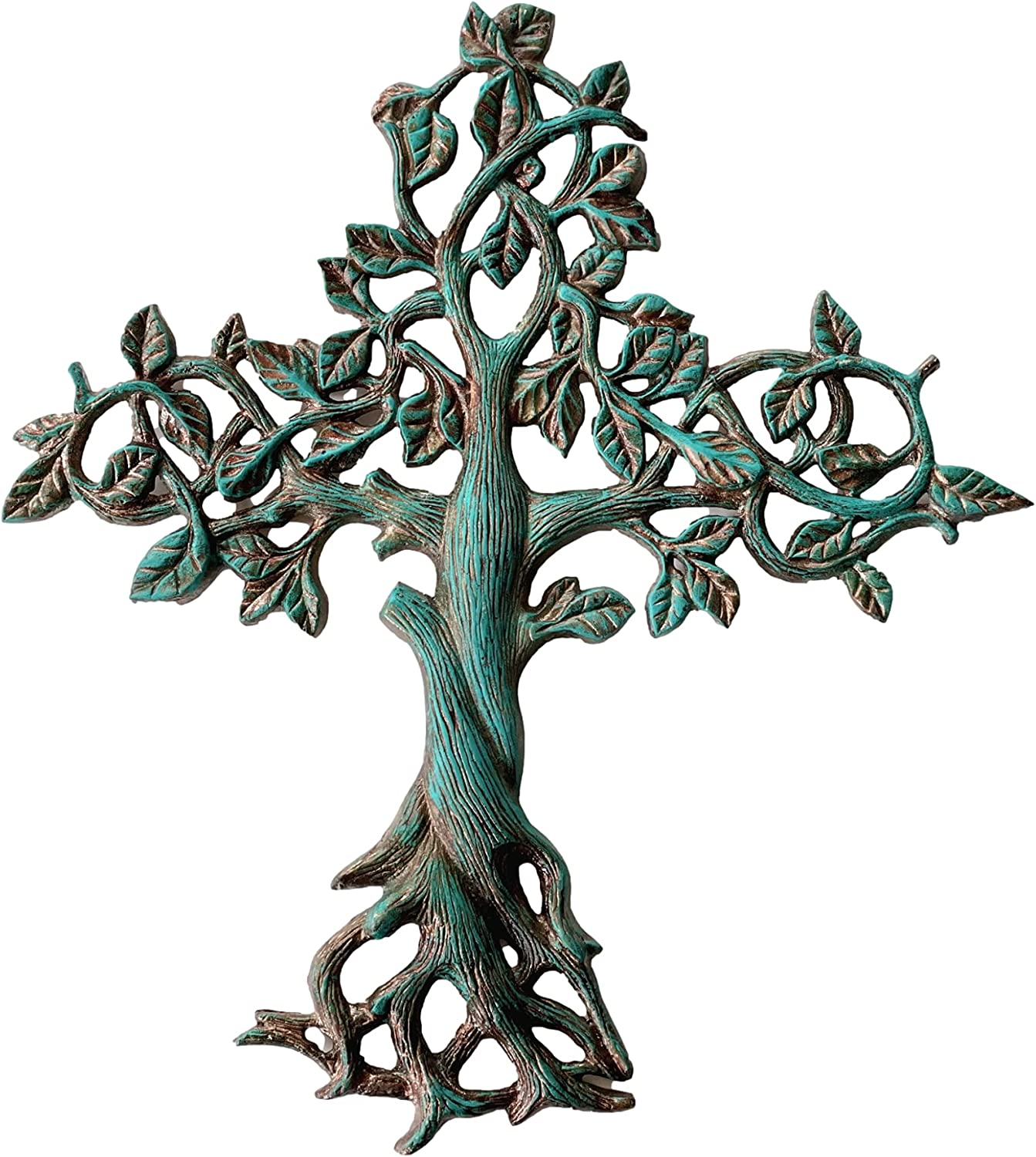 Decorative Tree of Life Metal Wall Cross Spiritual Decorations For Home - Religious Hanging Cross Wall Decor, Best For Home And As A Gift - Handmade Patina Finish Wall Art, 14.25
