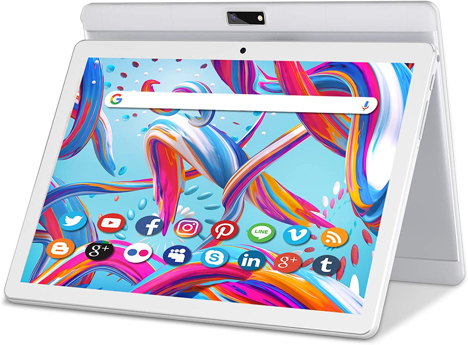 Tablet 10 Inch Android 9 HD Touchscreen Phone Tablets with Sim Card, Quad Core, 32GB ROM /128 GB Expand, 3G Phone Call, WiFi, Bluetooth, Dual Camera, GPS, GMS Google Certified Tablet PC, (White)