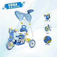DASH Vega Musical Cartoon Tricycle for Kids with Rear Storage Basket, Foot Rest, Back Support, Adjustable Canopy & Parent Control Push Handle (Blue)