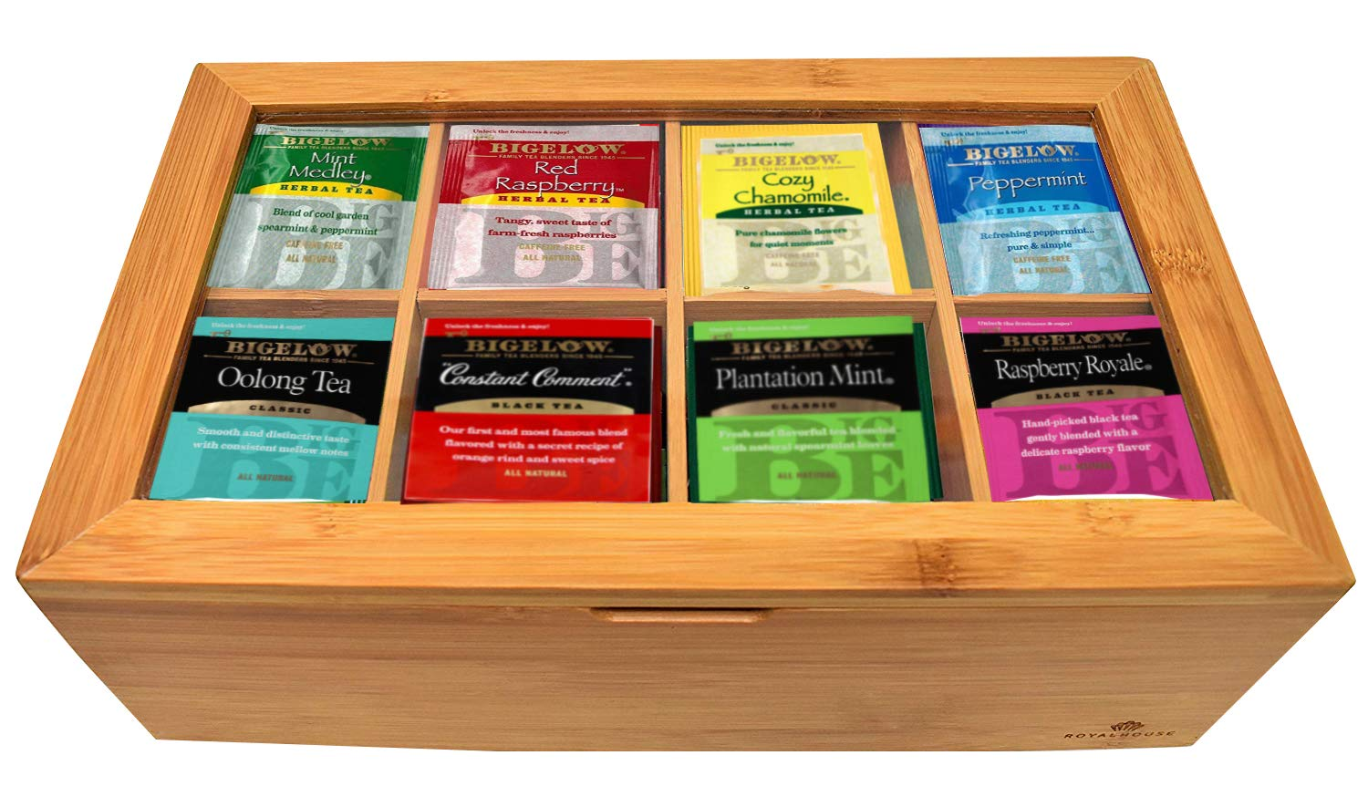 CDM product Bigalow Tea Bags Sampler Assortment Box - 80 COUNT - Perfect Variety Pack in Bamboo Gift Box - Gift for Family, Friends, Coworkers - English Breakfast, English Teatime, Green Tea, Early Grey and more small thumbnail image