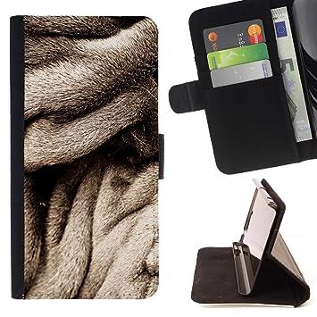 For Samsung Galaxy S5 V SM-G900 Case , Abrigo de piel gris Perro Negro