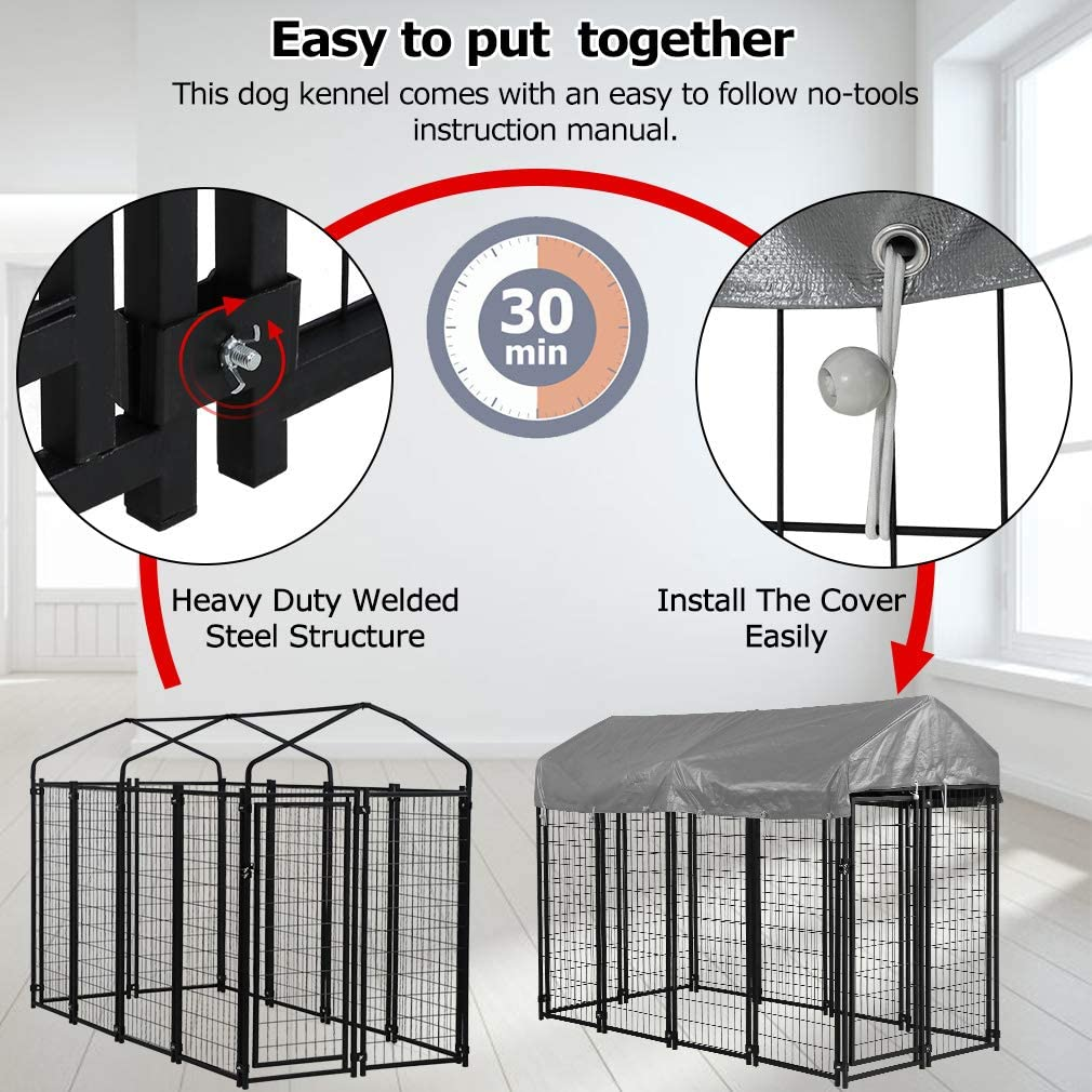 BMS Dog Pen Dog Fence Dog House Playpen Outdoor Camping Large Heavy Duty Dog Crate Kennel Cage with Reversibel Cover,4 x 4 x 4.3//7.5 x 3.75 x 5.8Feet