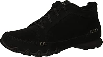 Skechers Women's Bikers-Lineage-Moc-Toe Lace-Up Chukka Boot, Black, 7 M US