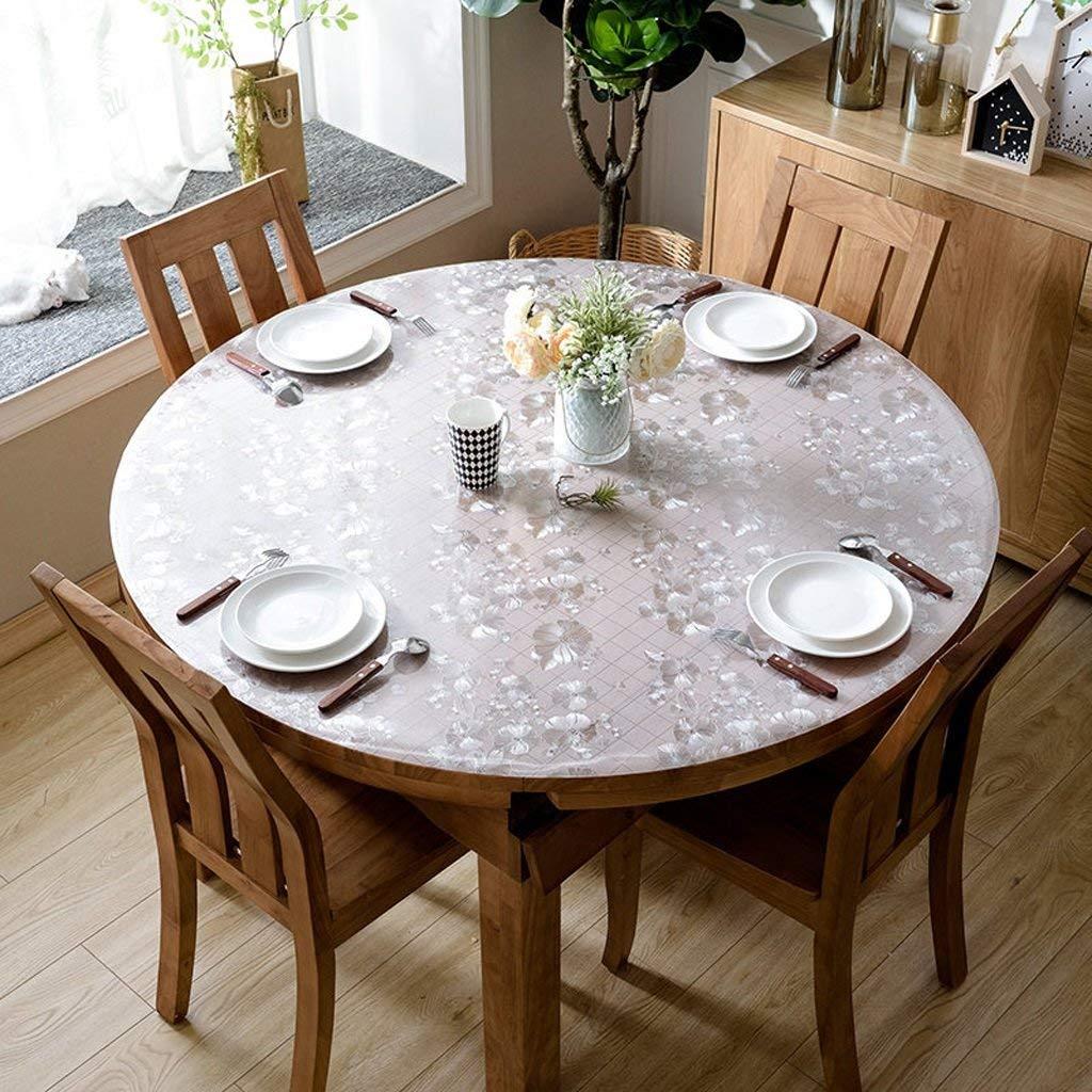 Lts ヨーロッパのテーブルクロスPVCラウンドテーブルクロス、柔らかいガラステーブルats防水クリスタルプレートコーヒーテーブルクロステーブルクロス (Color : A, サイズ : 135*135cm) 135*135cm A B07S9KW4JZ
