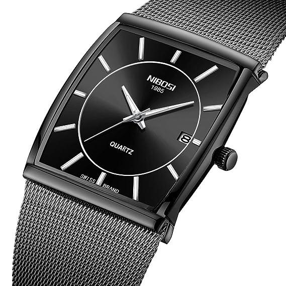 Relojes de Moda para Hombre Impermeable Business Correa de Malla analógica Cuarzo Reloj de Pulsera con Fecha y Luminoso Reloj Cuadrado Negro Hombre: ...