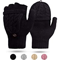 ECOMBOS Damen Handschuhe Fingerlos, Winter Handschuhe Fingerlose Fäustlinge Damen Fingerhandschuhe Warm