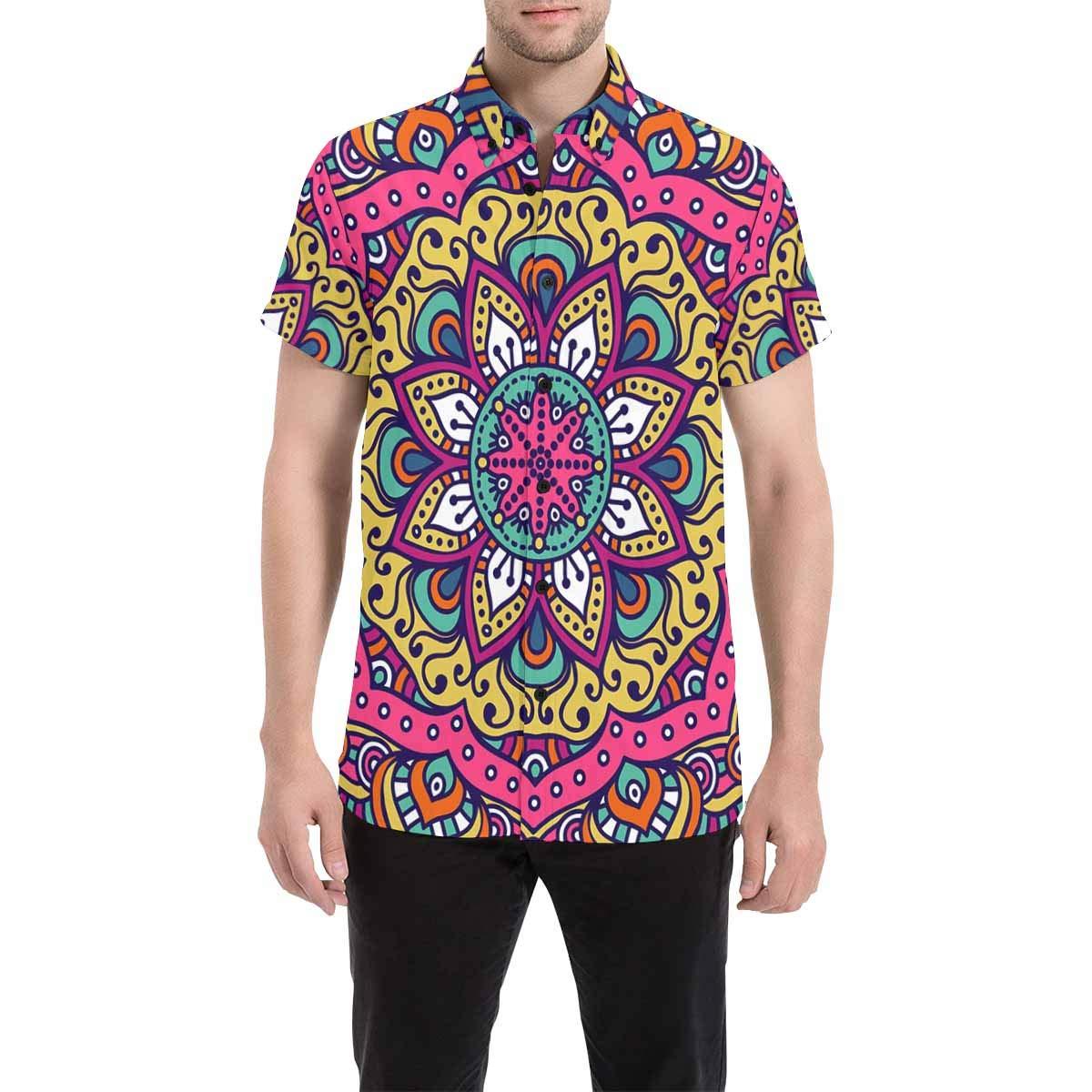 InterestPrint Mandala Ottoman Motifs Short Sleeve Button Down Casual Shirt for Men
