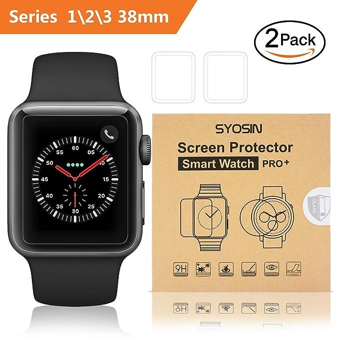 SYOSIN [2 Piezas Protector Pantalla Apple Watch 38mm 2.5D Curvado ...