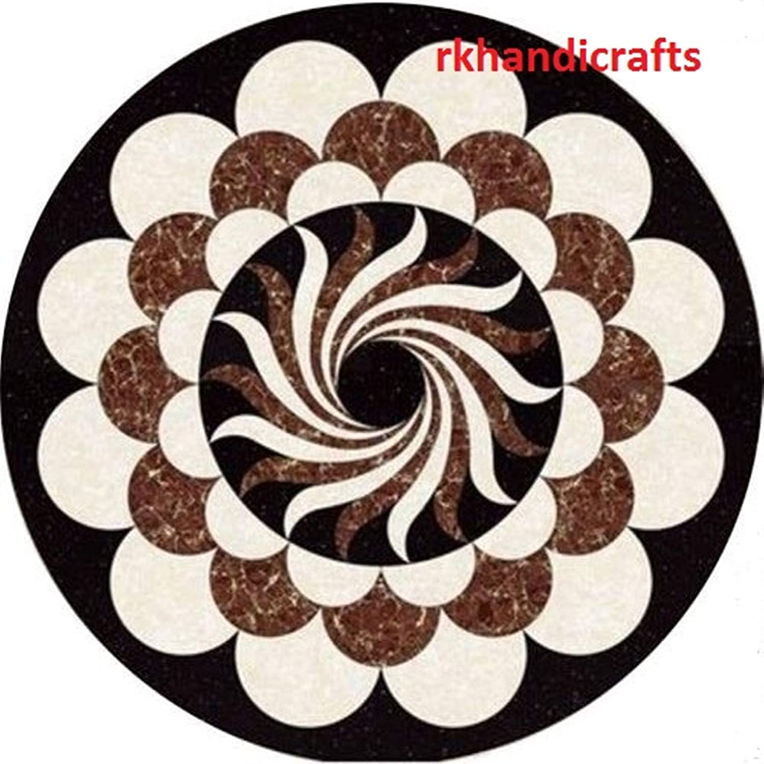 18 Inches Black Marble Patio Coffee Table Top Pietra Dura Art with Floral Design Handmade from India 71ubvfz5wHLSL1500_