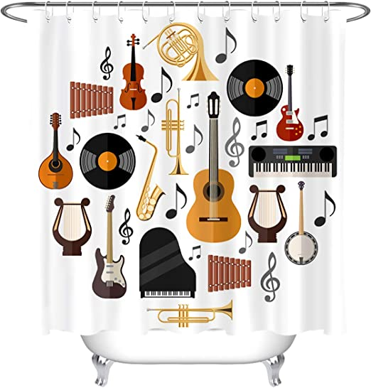 """71/"""" Retro background with microphone fabric shower curtain with 12hooks music"""